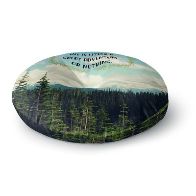 Robin Dickinson 'Life Is...' Landscape Typography Round Floor Pillow Size: 26