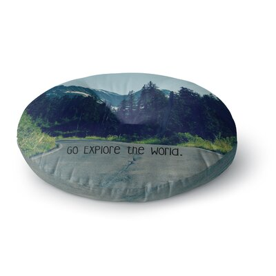 Robin Dickinson Go Explore the World Round Floor Pillow Size: 26 x 26
