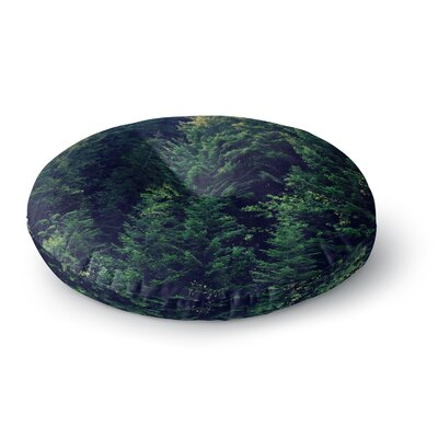 Robin Dickinson Red in Woods Forest Round Floor Pillow Size: 26 x 26