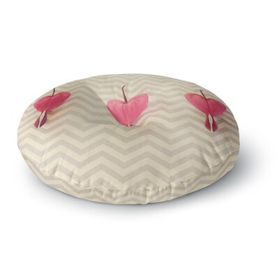 Robin Dickinson Pink Heart with Chevrons Floral Round Floor Pillow Size: 26 x 26