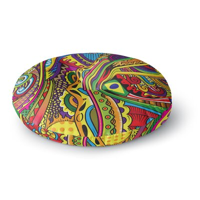 Roberlan Doodle Rainbow Abstract Round Floor Pillow Size: 23 x 23