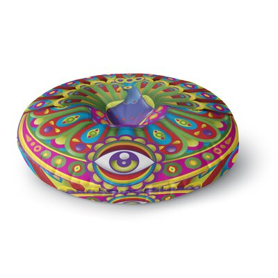 Roberlan Peacolor Rainbow Peacock Round Floor Pillow Size: 23 x 23