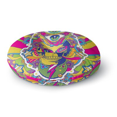 Roberlan Skull Rainbow Illustration Round Floor Pillow Size: 23 x 23