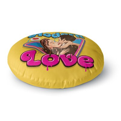 Roberlan Modern Retro Love Neon Round Floor Pillow Size: 26 x 26