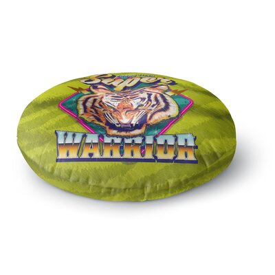 Roberlan Super Furry Tiger Warrior Round Floor Pillow Size: 26 x 26