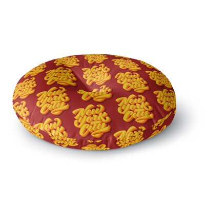 Roberlan New York City Brush Pattern Vector Round Floor Pillow Size: 26 x 26
