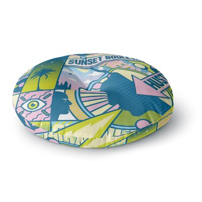 Roberlan Sunset Boulevard Digital Round Floor Pillow Size: 23 x 23