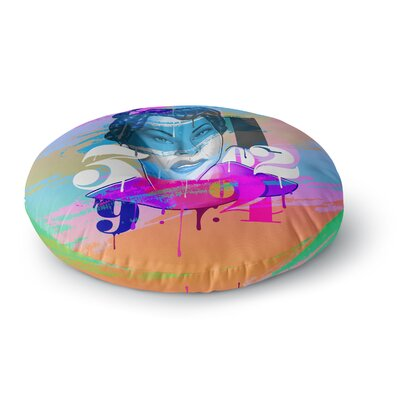 Roberlan Numbers Lady Digital Round Floor Pillow Size: 26 x 26
