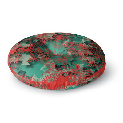 Rosa Picnic Coral Abstract Digital Round Floor Pillow Size: 26 x 26