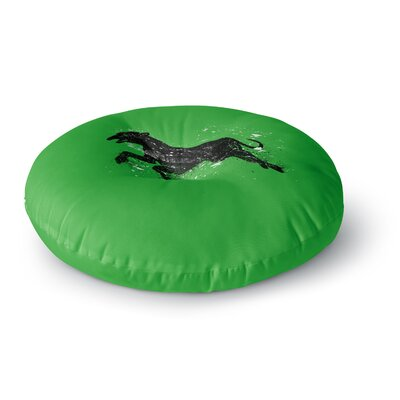 BarmalisiRTB Black Dog Animal Round Floor Pillow Size: 26 x 26