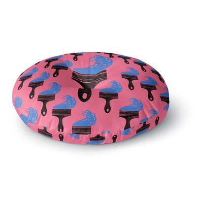 BarmalisiRTB Paintbrush Digital Round Floor Pillow Size: 26 x 26