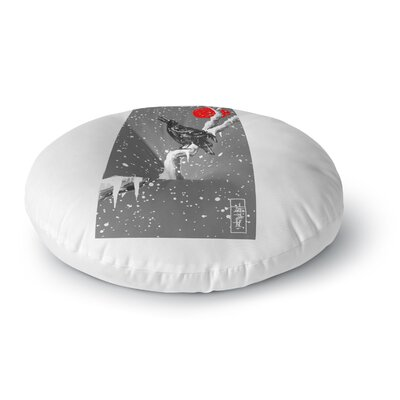 BarmalisiRTB Winter Japan Digital Round Floor Pillow Size: 23 x 23