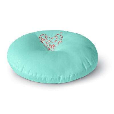 BarmalisiRTB Flying Cat Digital Round Floor Pillow Size: 26 x 26