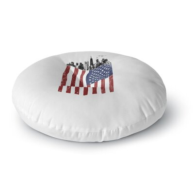 BarmalisiRTB American City Digital Round Floor Pillow Size: 23 x 23
