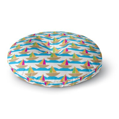 Apple Kaur Designs Beside the Seaside Boats Round Floor Pillow Size: 23 x 23