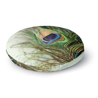 Sylvia Cook Teal Peacock Feather Round Floor Pillow Size: 23 x 23