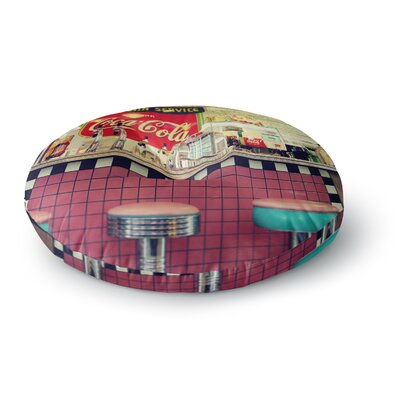 Sylvia Cook Retro Diner Coca Cola Round Floor Pillow Size: 23 x 23