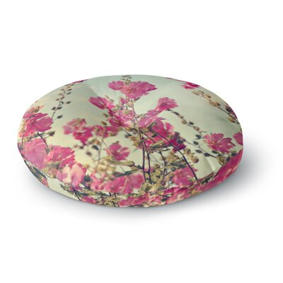 Sylvia Cook Pink Lavatera Flowers Sky Round Floor Pillow Size: 26 x 26