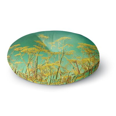 Sylvia Cook Yellow Flowers Sky Round Floor Pillow Size: 26 x 26