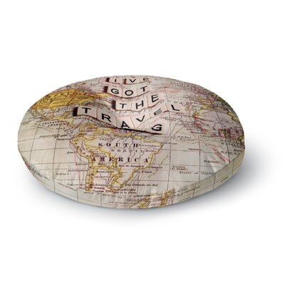 Sylvia Cook Travel Bug Map Round Floor Pillow Size: 23 x 23