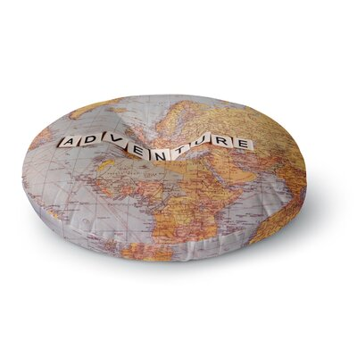 Sylvia Cook Adventure Map World Round Floor Pillow Size: 26 x 26