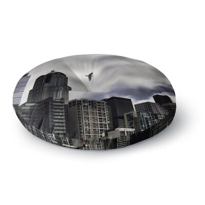 Sylvia Cook Seattle Skyline City Clouds Round Floor Pillow Size: 26 x 26