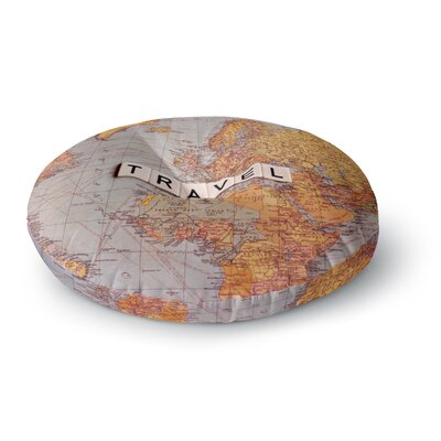 Sylvia Cook Travel Map World Round Floor Pillow Size: 26 x 26