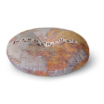 Sylvia Cook Wanderlust Map World Round Floor Pillow Size: 23 x 23