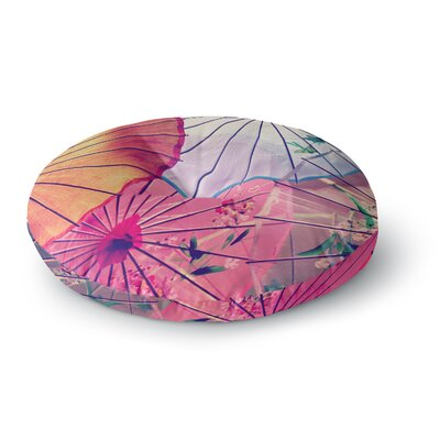 Sylvia Cook Colorful Umbrellas Round Floor Pillow Size: 23 x 23