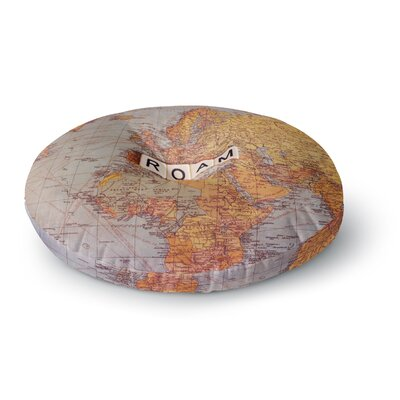 Sylvia Cook Roam Map World Round Floor Pillow Size: 23 x 23