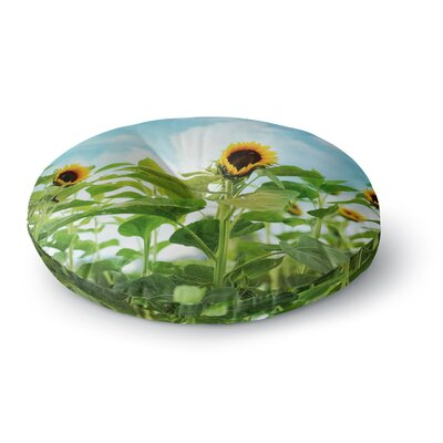 Sylvia Cook Sunflower Field Round Floor Pillow Size: 26 x 26