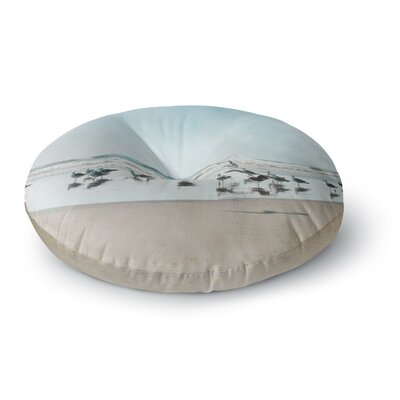 Sylvia Cook Sea Blue Coastal Round Floor Pillow Size: 23 x 23
