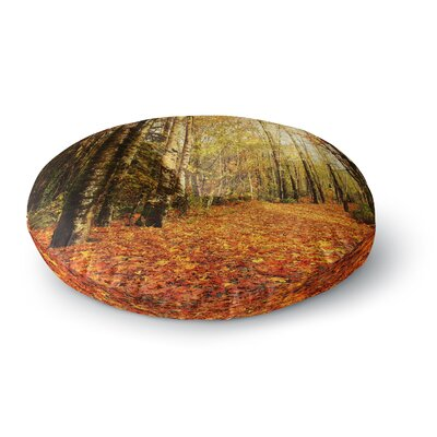 Sylvia Cook Autumn Leaves Rustic Round Floor Pillow Size: 26 x 26