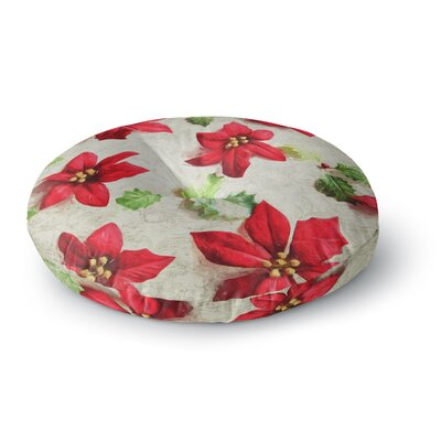 Sylvia Cook Poinsettia Holiday Leaves Round Floor Pillow Size: 23 x 23
