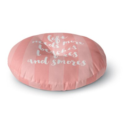 Sylvia Cook Beaches & Bonfires - Coral Typography Round Floor Pillow Size: 26 x 26