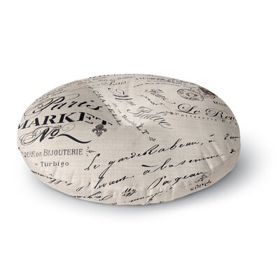 Sylvia Cook French Script Handwriting Round Floor Pillow Size: 26 x 26