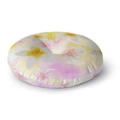 Sylvia Cook White Watercolor Plumerias Digital Round Floor Pillow Size: 26 x 26