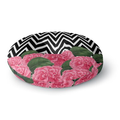 Suzanne Carter Camellia Chevron Flower Round Floor Pillow Size: 26 x 26