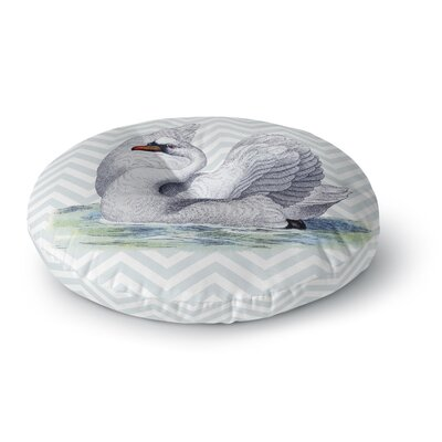 Suzanne Carter Vintage Swan Bird Chevron Round Floor Pillow Size: 26 x 26