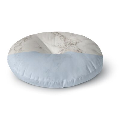 Suzanne Carter Marble and Blue Block Modern Round Floor Pillow Size: 23 x 23