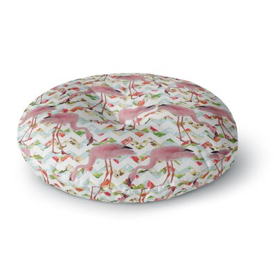 Suzanne Carter Flamingo Chevron & Roses Digital Round Floor Pillow Size: 23 x 23