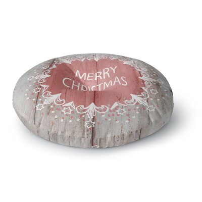Suzanne Carter Merry Christmas Pink Holiday Typography Round Floor Pillow Size: 26 x 26
