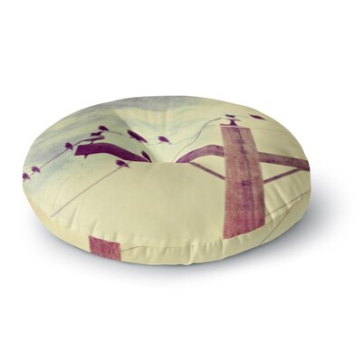 Sylvia Coomes Vintage Birds on a Wire 2 Digital Round Floor Pillow Size: 23 x 23