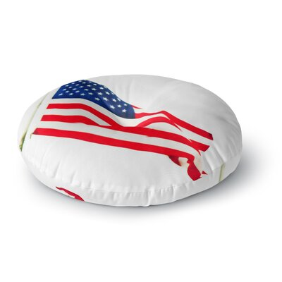 Sylvia Coomes American Flag Holiday Round Floor Pillow Size: 23 x 23