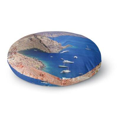 Sylvia Coomes Santorini Coastline Round Floor Pillow Size: 23 x 23