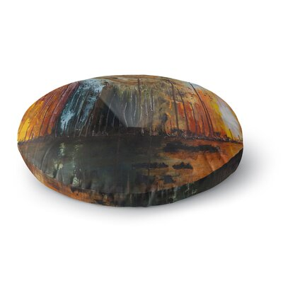 Steven Dix Theres Fire Painting Round Floor Pillow Size: 26 x 26