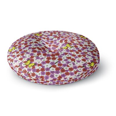 Setsu Egawa Cherry Blossom and Butterfly Round Floor Pillow Size: 26 x 26