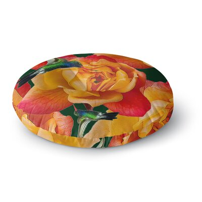 Shirlei Patricia Muniz Roses in Hummingbird Nature Round Floor Pillow Size: 26 x 26