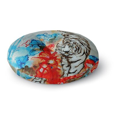 Sonal Nathwani 'Tiger' Round Floor Pillow Size: 26