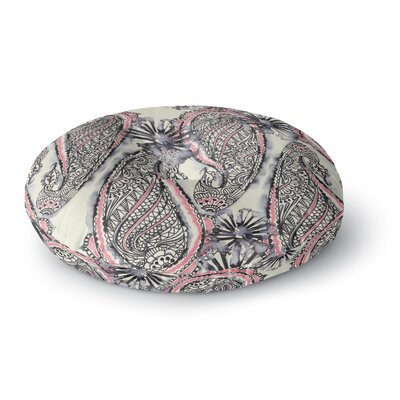 Sonal Nathwani 'Inky Paisley Bloom' Round Floor Pillow Size: 26